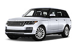 Stock pictures of low aggressive front three quarter view of 2020 Land Rover Range-Rover HSE 5 Door SUV Low Aggressive