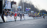 race winner Alexander Kristoff (NOR/Katusha) crossing the finish line with Niki Terpstra (NLD/Etixx-QuickStep) close behind and Greg Van Avermaet (BEL/BMC) 3rd<br /> <br /> 99th Ronde van Vlaanderen 2015