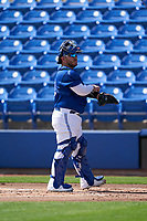 Toronto Blue Jays catcher Alejandro Kirk (30) during a Major League Spring Training game against the Pittsburgh Pirates on March 1, 2021 at TD Ballpark in Dunedin, Florida.  (Mike Janes/Four Seam Images)