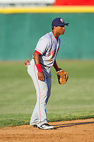 Hagerstown Suns shortstop Wilmer Difo (6) on defense against the Hickory Crawdads at L.P. Frans Stadium on May 7, 2014 in Hickory, North Carolina.  The Suns defeated the Crawdads 4-2.  (Brian Westerholt/Four Seam Images)
