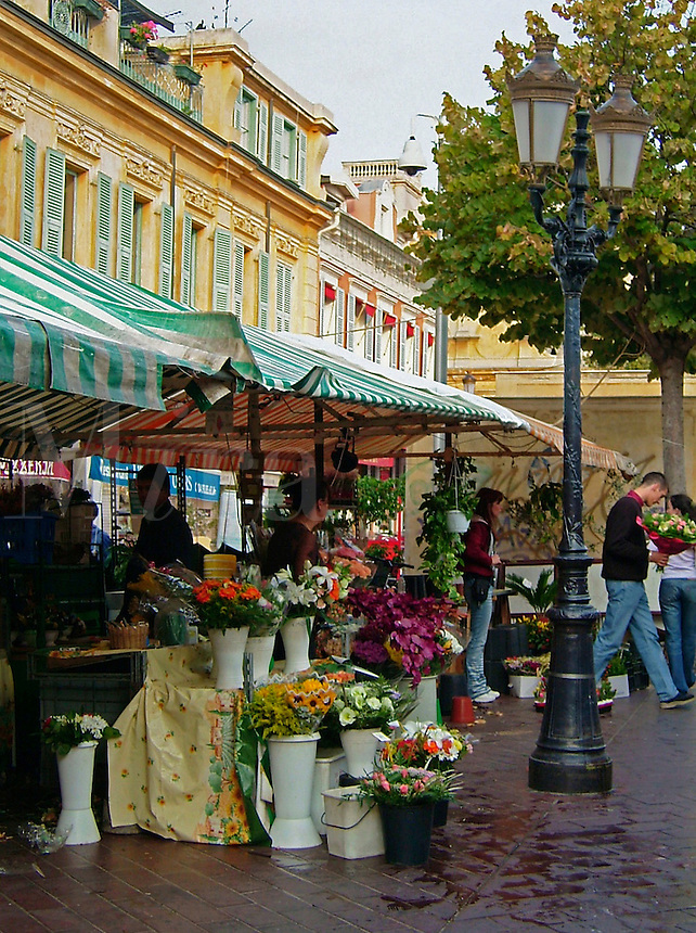 The famous flower market at dusk in Nice, France