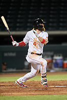 Mesa Solar Sox Brandon Marsh (4), of the Los Angeles Angels organization, at bat during an Arizona Fall League game against the Peoria Javelinas on September 21, 2019 at Sloan Park in Mesa, Arizona. Mesa defeated Peoria 4-1. (Zachary Lucy/Four Seam Images)
