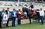 """DEL MAR, CA  AUGUST 28 :#1 Ginobili, ridden by Drayden Van Dyke and the connections in the winners circle after winning the Pat O'Brien Stakes (Grade ll) Breeders Cup """"Win and You're In"""" Dirt Mile Division on August 28, 2021 at Del Mar Thoroughbred Club in Del Mar, CA.  (Photo by Casey Phillips/Eclipse Sportswire/CSM)"""