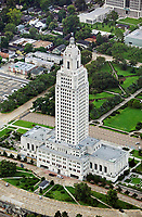 aerial photograph of the Louisiana State Capitol Building, Baton Rouge, Louisiana
