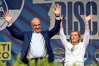 The candidate mayor for the right wing Enrico Michetti and the leader of Fratelli d'Italia Giorgia Meloni on the stage at the meeting of Fratelli d'Italia right party titled 'the Italy of the ransom' in Piazza del Popolo outing the election campaign for the mayor of Rome. <br /> Rome (Italy), September 18th 2021<br /> Photo Samantha Zucchi Insidefoto