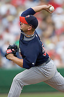 Crain, Jesse 8035.jpg. Minnesota Twins at Philadelphia Phillies. Spring Training Game. Saturday March 21st, 2009 in Clearwater, Florida. Photo by Andrew Woolley.