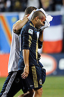Fred (7) of the Philadelphia Union is helped off the field after being injured. The Los Angeles Galaxy defeated the Philadelphia Union  1-0 during a Major League Soccer (MLS) match at PPL Park in Chester, PA, on October 07, 2010.