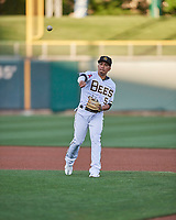Kean Wong (5) of the Salt Lake Bees during the game against the Reno Aces at Smith's Ballpark on May 6, 2021 in Salt Lake City, Utah. The Aces defeated the Bees 5-4. (Stephen Smith/Four Seam Images)