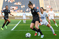 BRIDGEVIEW, IL - JULY 18: Morgan Gautrat #13 of the Chicago Red Stars dribbles the ball as Lauren Barnes #3 of the OL Reign defends during a game between OL Reign and Chicago Red Stars at SeatGeek Stadium on July 18, 2021 in Bridgeview, Illinois.