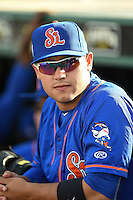 St. Lucie Mets outfielder Michael Conforto (21) in the dugout before a game against the Bradenton Marauders on April 11, 2015 at McKechnie Field in Bradenton, Florida.  St. Lucie defeated Bradenton 3-2.  (Mike Janes/Four Seam Images)