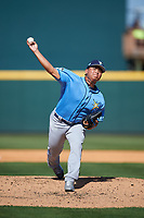 Tampa Bay Rays relief pitcher Chih-Wei Hu (58) delivers a pitch during a Spring Training game against the Pittsburgh Pirates on March 10, 2017 at LECOM Park in Bradenton, Florida.  Pittsburgh defeated New York 4-1.  (Mike Janes/Four Seam Images)