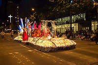 Lit Beauty Pagent Float at Night, Seafair Torchlight Parade 2015, Seattle, Washington State, WA, America, USA.