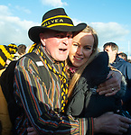 Ballyea's Michael Sheedy and Tony Kelly's newly married sister Lorraine embrace following the county senior hurling final against Cratloe at Cusack Park. Photograph by John Kelly.