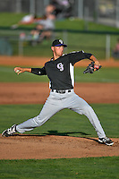 Grand Junction Rockies starting pitcher Mike Nikorak (14) delivers a pitch to the plate against the Ogden Raptors in Pioneer League action at Lindquist Field on June 20, 2016 in Ogden, Utah. The Rockies defeated the Raptors 5-2. (Stephen Smith/Four Seam Images)