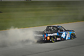 NASCAR Camping World Truck Series<br /> TheHouse.com 225<br /> Chicagoland Speedway, Joliet, IL USA<br /> Friday 15 September 2017<br /> Christopher Bell, SiriusXm Toyota Tundra celebrates with a burnout after winning the regular season championship<br /> World Copyright: Logan Whitton<br /> LAT Images