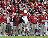 STANFORD, CA - November 6, 2010: Ryan Hewitt catches a 6 yard reception during a 42-17 Stanford win over the University of Arizona, in Stanford, California.