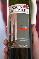 Bottle of Vinson Richards Tannat Reserve 2000, the label is used in the USA. Bodega Juanico Familia Deicas Winery, Juanico, Canelones, Uruguay, South America