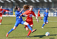 forward Gwen Duijsters (13) of KRC Genk battles for the ball with during a female soccer game between FC Femina White Star Woluwe and KRC Genk on the 17 th matchday of the 2020 - 2021 season of Belgian Scooore Womens Super League , Saturday 20 th of March 2021  in Woluwe , Belgium . PHOTO SPORTPIX.BE | SPP | JILL DELSAUX