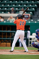 Lakeland Flying Tigers right fielder Elvis Rubio (20) at bat during the second game of a doubleheader against the St. Lucie Mets on June 10, 2017 at Joker Marchant Stadium in Lakeland, Florida.  Lakeland defeated St. Lucie 9-1.  (Mike Janes/Four Seam Images)