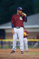 Mahoning Valley Scrappers pitcher Jose Zapata (51) looks in for the sign during a game against the Batavia Muckdogs on June 22, 2015 at Dwyer Stadium in Batavia, New York.  Mahoning Valley defeated Batavia 15-11.  (Mike Janes/Four Seam Images)