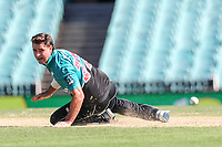 13th March 2020, Sydney Cricket Ground, Sydney, Australia;  Colin de Grandhomme of the Blackcaps misfields off his own bowing. International One Day Cricket. Australia versus New Zealand Blackcaps, Chappell–Hadlee Trophy, Game 1.
