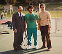 Collect picture of Former Mayor of Picinisco, Italy, Antonio Mancini (left),  with footballer Maradonna when he visited the town.