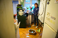 Flooding effected the villages of Aberdulais and Tonna in the Neath Valley after Storm Callum brought heavy rain and wind to the area causing the River Neath to reach bursting point. <br /> Paul Edwards from Canal Side, Tonna, pictured in his kitchen which was flooded. Saturday 13 October 2018