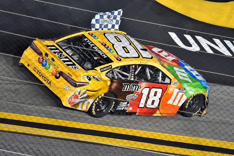 #18: Kyle Busch, Joe Gibbs Racing, Toyota Camry M&M's celebrates this win