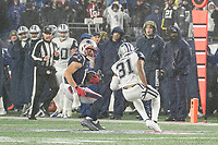 FOXBOROUGH, MA - NOVEMBER 24: Dallas Cowboys Cornerback Byron Jones #31 closes in on New England Patriots Wide Receiver Julian Edelman #11 as he tries to change direction during a game between Dallas Cowboys and New England Patriots at Gillettes on November 24, 2019 in Foxborough, Massachusetts.
