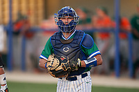Florida Gulf Coast Eagles catcher Johnny Long (24) during an NCAA game against the Miami Hurricanes on March 17, 2021 at Swanson Stadium in Fort Myers, Florida.  (Mike Janes/Four Seam Images)