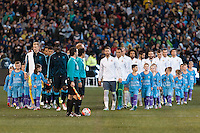 Melbourne, 24 July 2015 - The teams enter the arena in game three of the International Champions Cup match between Manchester City and Real Madrid at the Melbourne Cricket Ground, Australia. Real Madrid def City 4-1. (Photo Sydney Low / AsteriskImages.com)