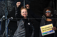 """(Form L to R) Carole Duggan (Mark Duggan's aunt) & Janet Alder (Christopher Alder's sister). <br /> <br /> London, 22/03/2014. """"Stand Up To Racism & fascism - No to Scapegoating Immigrants, No to Islamophobia, Yes to Diversity"""", national demo marking UN Anti-Racism Day organised by TUC (Trade Union Congress) and UAF (Unite Against Fascism).<br /> <br /> For more information please click here: http://www.standuptoracism.org.uk/"""