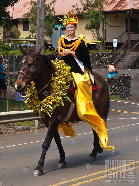 Woman Pa'u riders on horseback in King Kamehameha Day Parade, North Kohala, Big Island of Hawaii, Kapa'au Town.