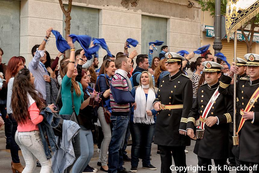 Musiker derBruderschaft Paso Azul  bei  der Semana Santa (Karwoche) in Lorca,  Provinz Murcia, Spanien, Europa