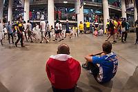 Action photo during the match Colombia vs Chile, corresponding to the semifinals of the America Cup Centenary 2016, at Soldier Field Stadium.<br /> <br /> Foto de accion durante el partido Colombia vs Chile correspondiente a la Semifinales de la Copa America Centenario 2016, en el Estadio Soldier Field, en la foto: Fans se resguadan dentro del pasillo del Estadio Soldier Field durante la Lluvia y Tormenta Electrica<br /> <br /> <br /> 22/06/2016/MEXSPORT/Jorge Martinez