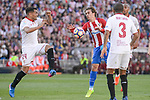 Atletico de Madrid's Antoine Griezmann and Sevilla's Gabriel Mercado during La Liga match between Atletico de Madrid and Sevilla CF at Vicente Calderon Stadium in Madrid, Spain. March 19, 2017. (ALTERPHOTOS/BorjaB.Hojas)