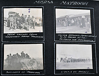 BNPS.co.uk (01202 558833)<br /> Pic: C&T/BNPS<br /> <br /> This page in Mersa Matrouh shows rescued crew from a torpedoed steamer and Arab refugees arriving at the remote coastal fort.<br /> <br /> Never before seen photos of the disastrous Gallipoli campaign have come to light over a century later.<br /> <br /> The fascinating snaps were taken by Sub Lieutenant Gilbert Speight who served in the Royal Naval Air Service in World War One.<br /> <br /> They feature in his photo album which covers his eventful war, including a later stint in Egypt.<br /> <br /> There are dramatic photos of the Allies landing at X Beach, as well as sobering images of a mass funeral following the death of 17 Brits. Another harrowing image shows bodies lined up in a mass grave.<br /> <br /> The album, which also shows troops during rare moments of relaxation away from the heat of battle, has emerged for sale with C & T Auctions, of Ashford, Kent. It is expected to fetch £1,500.
