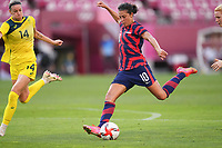 KASHIMA, JAPAN - AUGUST 5: Carli Lloyd #10 of the United States during a game between Australia and USWNT at Kashima Soccer Stadium on August 5, 2021 in Kashima, Japan.