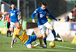 St Johnstone v Kilmarnock…31.08.19   McDiarmid Park   SPFL<br />Scott Tanser is tackled by Gary Dicker<br />Picture by Graeme Hart.<br />Copyright Perthshire Picture Agency<br />Tel: 01738 623350  Mobile: 07990 594431