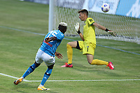 Victor Osimhen of SSC Napoli scores a goal<br /> during the friendly football match between SSC Napoli and L Aquila 1927 at stadio Patini in Castel di Sangro, Italy, August 28, 2020. <br /> Photo Cesare Purini / Insidefoto