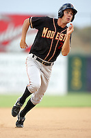 Tim Wheeler of the Modesto Nuts during game against the Lancaster JetHawks at Clear Channel Stadium in Lancaster,California on July 15, 2010. Photo by Larry Goren/Four Seam Images