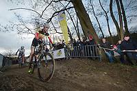 Belgian Champion Klaas Vantornout (BEL) leads German Champion Philipp Walsleben (DEU)<br /> <br /> Vlaamse Druivencross Overijse 2013