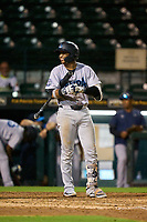 Tampa Tarpons Roberto Chirinos (14) bats during Game One of the Low-A Southeast Championship Series against the Bradenton Marauders on September 21, 2021 at LECOM Park in Bradenton, Florida.  (Mike Janes/Four Seam Images)