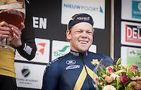 Lasse Norman Hansen (DEN/Aqua Blue Sport) definitely liked the beer on the podium after finishing 3rd place in the 1st Dwars door West-Vlaanderen 2017 (1.1)