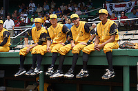 Jacksonville Suns Ryan Rieger (23), Terrence Dayleg (16), Matt Juengel (15) and Carlos Lopez (7) before the 20th Annual Rickwood Classic Game against the Birmingham Barons on May 27, 2015 at Rickwood Field in Birmingham, Alabama.  Jacksonville defeated Birmingham by the score of 8-2 at the countries oldest ballpark, Rickwood opened in 1910 and has been most notably the home of the Birmingham Barons of the Southern League and Birmingham Black Barons of the Negro League.  (Mike Janes/Four Seam Images)