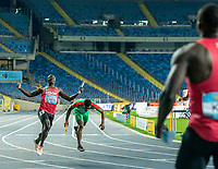 2nd May 2021; Silesian Stadium, Chorzow, Poland; World Athletics Relays 2021. Day 2; Ochieng of Kenya crosses the line as Kenya win silver in the mens 4 x200m relays