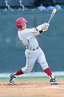 First baseman Michael Strem (10) of the Boston College Eagles bats in a game against the Wofford College Terriers on Friday, February 13, 2015, at Russell C. King Field in Spartanburg, South Carolina. Wofford won, 8-4. (Tom Priddy/Four Seam Images)