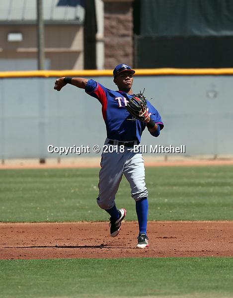 Yenci Pena - Texas Rangers 2018 extended spring training (Bill Mitchell)