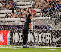 HOUSTON, TX - JUNE 10: Ines Pereira #1 of Portugal leans into the net after a save during a game between Portugal and USWNT at BBVA Stadium on June 10, 2021 in Houston, Texas.