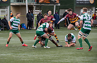 Devante Onojaife of Ampthill RUFC is tackled by Craig Willis of Ealing Trailfinders during the Greene King IPA Championship match between Ealing Trailfinders and Ampthill RUFC being played behind closed doors due to the COVID-19 pandemic restrictions at Castle Bar , West Ealing , England  on 13 March 2021. Photo by Alan Stanford / PRiME Media Images